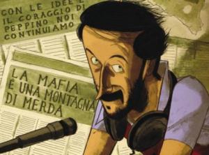 """Copertina del fumetto """"Peppino Impastato, un giullare contro la mafia"""" ed. BeccoGiallo"""